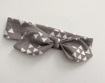 SALE Knot Headband - Tie Knot Headband - Jersey Knit - Baby Headband - Toddler Head Wrap - White Trendy Triangles Grey