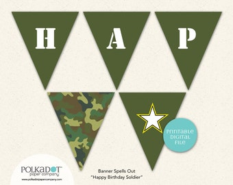 PRINTABLE - Army Party - Pennant Flag Banner