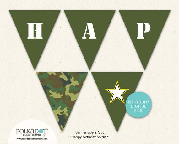 printable army party pennant flag banner