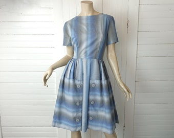 50s Blue & Gray Striped Dress- 1950s- Medium