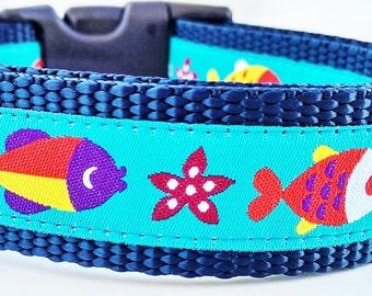 Here Fishy Fishy - Dog Collar / Adjustable / Pet Accessories / Handmade / Goft Idea / Pet Lover