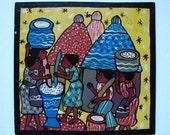 Naive African Folk Art, Shona Africa Painting, Folk Art Decor Colorful Vintage Originals Village Scenes