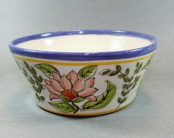 Handmade pottery Bowl.  Handpainted Pink Lotus Bowl, Stoneware Clay.SKU109-1
