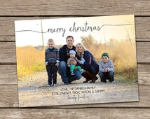 Photo Christmas Card : Merry Christmas Script Font Custom Photo Holiday Card Printable