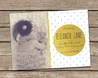 Printable Birth Announcement : Eleanor 1 Baby Girl Custom Photo Birth Announcement Faux Gold Foil