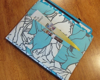 Aqua, Gray and White Magazine & Tract Bag, Tablet Sleeve, With Contact Card Pocket