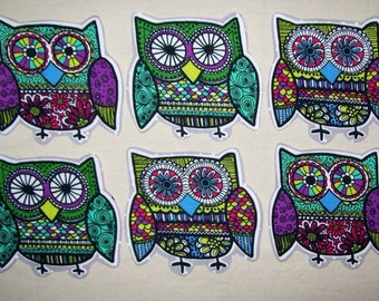 2 Fabric Iron On Owl Appliques
