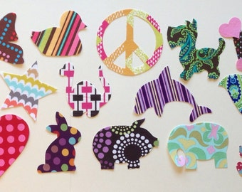 15 Piece DIY Fabric Iron On Applique Set For Girls Baby Shower Bodysuit Decorating Shower Activity Baby Girl