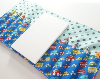 Mini Crayon Wallet - Tiny Automobiles in Blue - car theme party favor.toddler gift.easter.blue cars.art wallet -Crayons and Pad NOT INCLUDED