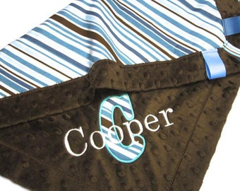 Minky Baby Blanket Boy - Applique Security Blanket, All Star Riley Blake Stripe Personalized Lovey - 18 x 22 with name, blue brown