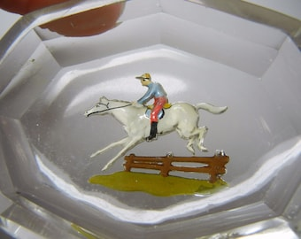 Italian glass open salt / hand painted / intaglio glass features horse / RARE / jumper / hunting / victorian / gift unique