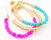 Color Block Bracelet SET Pink Turquoise White Gold- Czech Glass Baby, Toddler, Kids, Womens Dainty Bracelet - Preppy, Beach, Boho