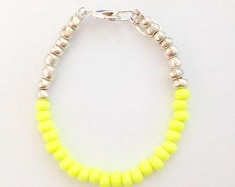 Color Block Bracelet Neon Yellow  and Silver - Czech Glass Baby, Toddler, Kids, Womens Dainty Bracelet - Preppy, Beach, Boho