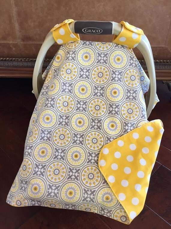 items similar to super cute baby car seat cover gray and yellow medallion with yellow polka. Black Bedroom Furniture Sets. Home Design Ideas