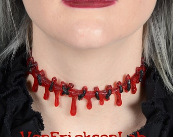 Dripping Blood Stitch Necklace Choker  -Creepy Cute