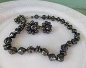 Vintage Gray/black hematite style Beaded Necklace choker Earring Set