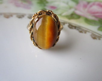 Art Deco 10K gold filled Ring with tigers Eye stone Agate