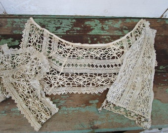 Antique Victorian Hand crochet collar cuff and bib front Salvaged pieces