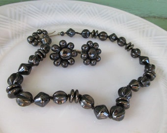 Vintage Gray/black hematite style Beaded Necklace choker Earring Set