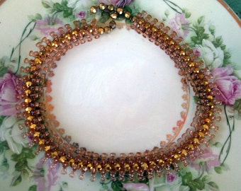 Vintage beaded Woven choker necklace statement amber gold beads