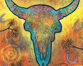 Steer Skull Print. Southwest Decor. Skull Art Print titled Courage Along the Path by Lindy Gaskill. Skull Art Poster. Southwest Skull Print.