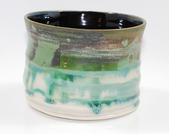 Green Turquoise  Tea Bowl, Charity, Chawan, Tea Ceremony, Rice Bowl, Three cups of Tea Charity