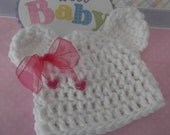 Newborn Polar Bear Hat with Pink Sheer Ribbon Bow and Hearts -  ready to ship
