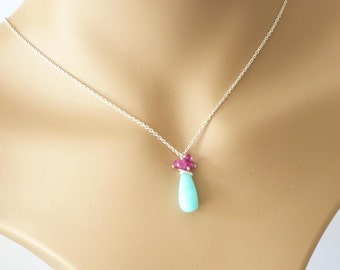 Peruvian opal necklace, sterling silver, bright pink and aqua necklace, hot pink and aqua handmade jewelry