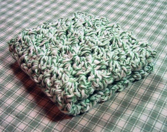 Perfect Dish Cloth - Crocheted in Cotton Yarn - Ecru Green Twist Color - Handmade - Great for Kitchen or Bath