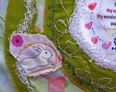 bunny, unframed, textile art, original, psalm 75:1, fabric, art, mixed media,paper
