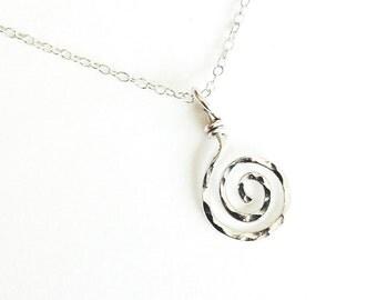 Sterling Silver Sun Swirl Pendant. Spiral Pendant. Aziza Jewelry