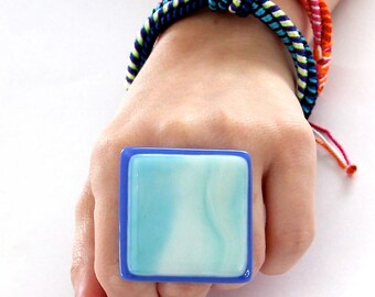 Fused Glass Statement Ring   big ring, boho ring, bold handmade adjustable ring - SOMETHING BLUE  1.8 inch