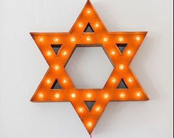 "SALE - Star of David - 24"" Vintage Marquee Lights"