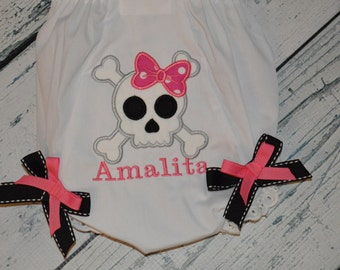 Personalized Skull and Crossbone girls applique bloomers