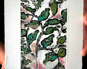 Habitat Series - Woodlands 2: wall art, home decor, abstract nature etching, handed colored with pastel