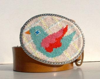 CLEARANCE Needlepoint Spring Sweet Bird Belt Buckle