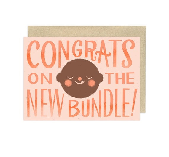 Congrats on the New Bundle, Coral, Illustrated Congrats Card