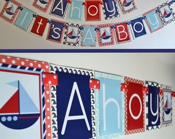 Ahoy Itsu0027 A Boy Nautical Baby Shower Decorations Red White Blue Fully  Assembled