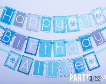 Ice Princess Birthday Party Banner Decorations Fully Assembled | Blue Snowflake | Winter Wonderland | Blue Silver Gray Snowflake Party