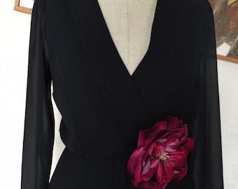 1980s Modest Classic Little Black Dress LBD by Miss Elliette -Modest Plain Proper - Versatile Black Dress - Traditional Style - 36 37 Bust