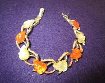 Star Co. Jewelry Lucite Bracelet Two Tone Leaf