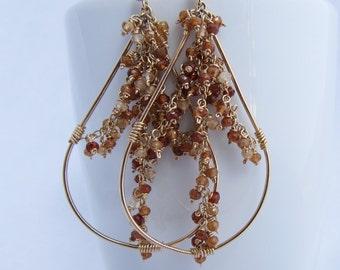 Golden Brown Spinel Wire Wrapped Dangle Post Earrings Boho Earrings Handmade Teardrop Earrings