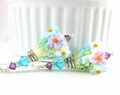 Pastel Floral Earrings, Botanical Earrings, Turquoise Blue Ivory Purple Earrings, Flower Jewelry, Lampwork Glass Earrings, Nature Earrings