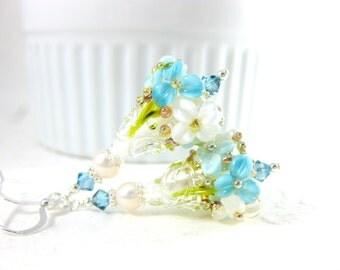 Blue Floral Earrings, Aqua Blue White Silver Earrings, Botanical Earrings, Floral Jewelry Lampwork Earrings, Dangle Earrings, Glass Earrings