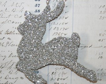 Genuine German Silver Glitter Reindeer Vintage Inspired Ornament