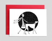 Christmas Card // Walking dog winter holiday seasonal card