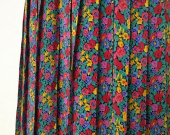 French vintage 1980s floral pleated midi skirt - medium M