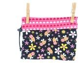 Bumble Bee, Pink Hearts, Reversible Project Bag, Medium