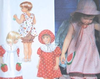 Toddlers Dress, Reversible Pinafore or Top, Panties & Hat - Simplicity 7166 Pattern - UNCUT