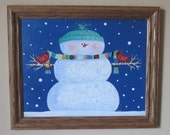 FRAMED Happy Snowman ORIGINAL Folk Art Painting FREE Priority Shipping